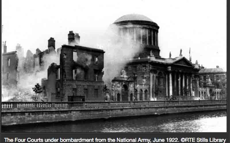 Burning of Public Records Office Dublin June 30 1922 Irish Civil War